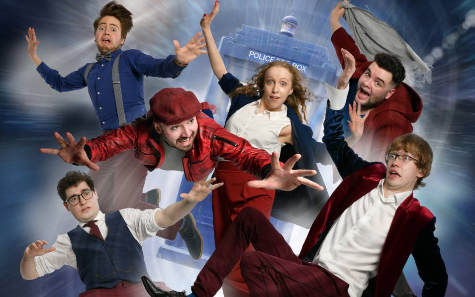 Six people spinning in front of Tardis
