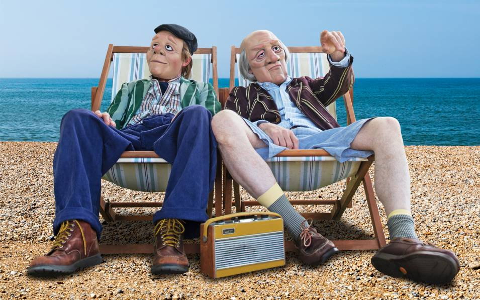 Dead Good's old guys relaxing in deckchairs.
