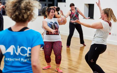 Women dancing in the studio