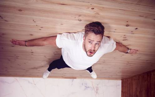 Iain Stirling is living on the ceiling.