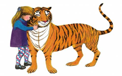 The Tiger Who Came To Tea has a cuddle.