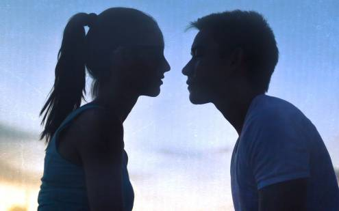 Boy and girl staring at eachother
