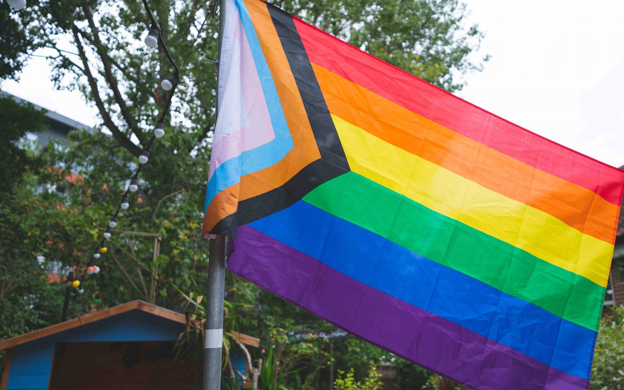 Progress Pride Flag in Norwich Playhouse Bar Garden