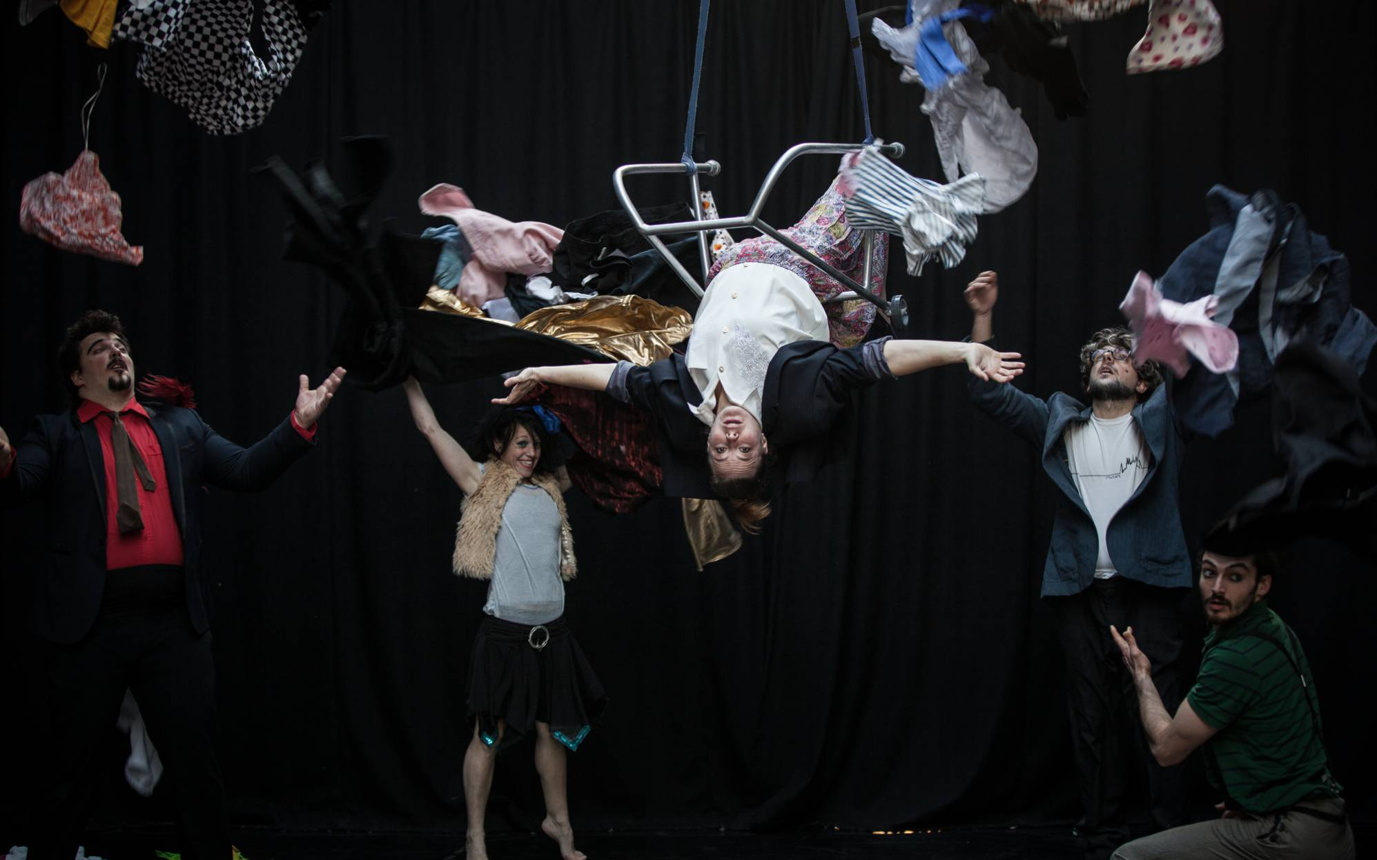 Acrobats flying in the air
