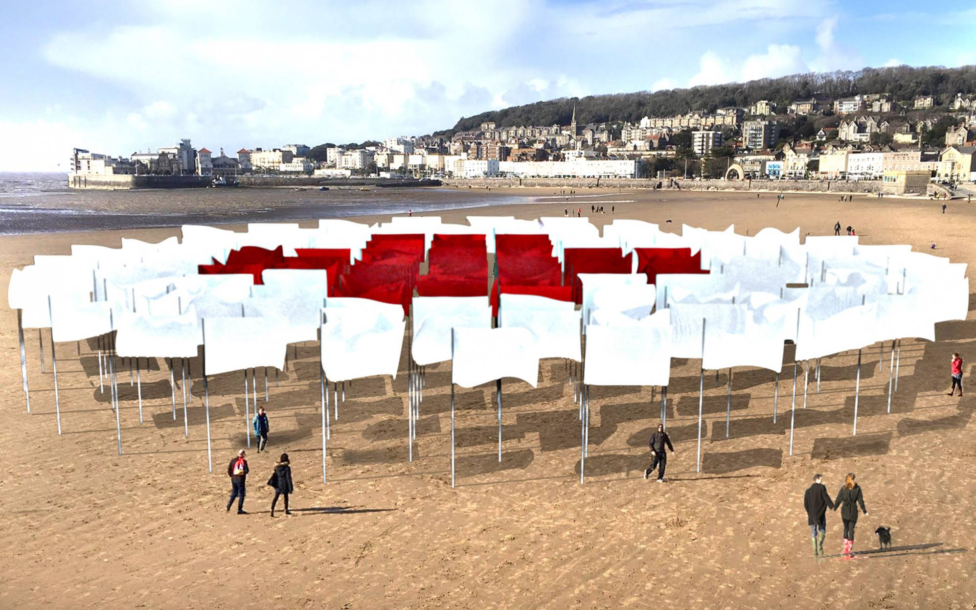 A wide angle photo of the In Memoriam exhibition. Red and white flags forming the shape of a medical cross.
