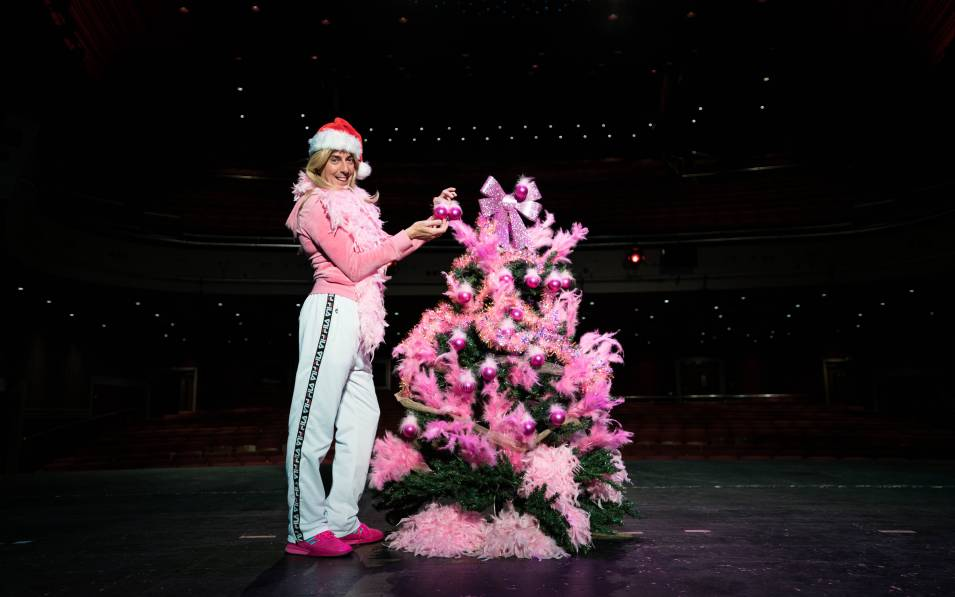 Karl Minns on the Theatre Royal stage as She Go, placing two baubles on a pink christmas tree