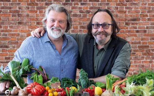 The Hairy Bikers photographed with an array of fruit and vegetables