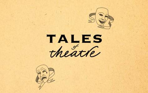 Two traditional theatre masks surrounds the words: Tales of Theatre.