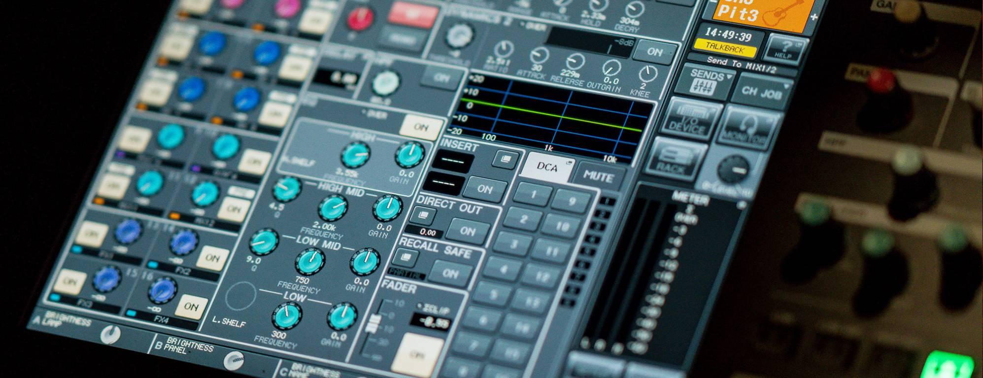 A digital screen for a technical mixing desk